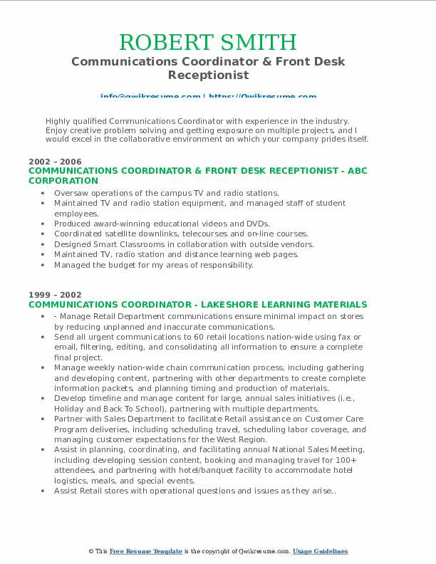 Communications Coordinator & Front Desk Receptionist Resume Model