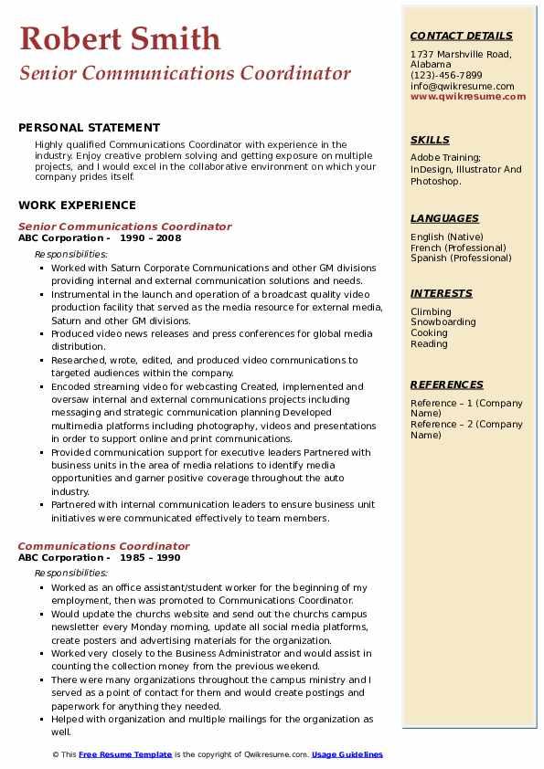 Senior Communications Coordinator Resume Model