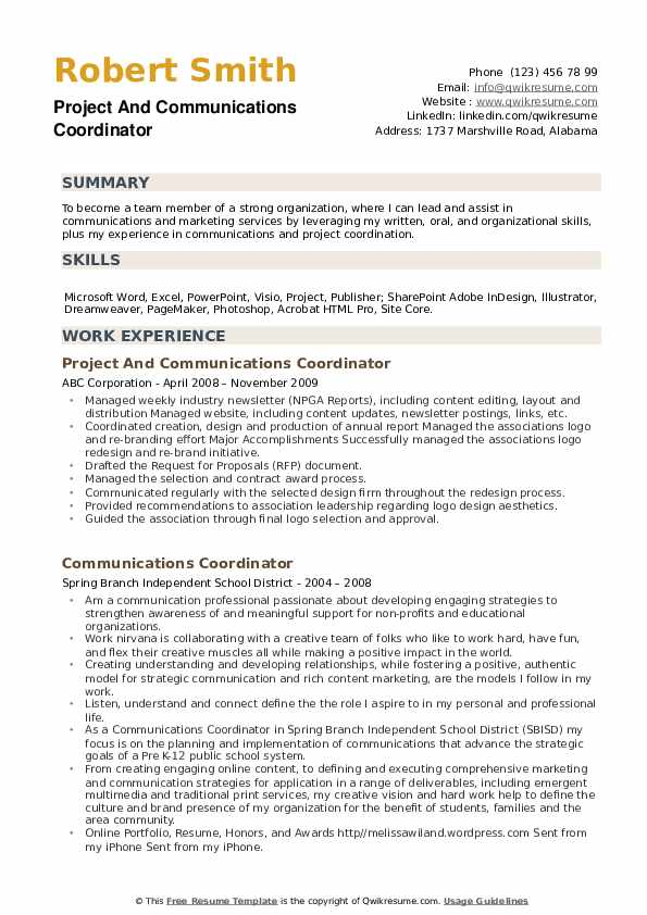 Project And Communications Coordinator Resume Template