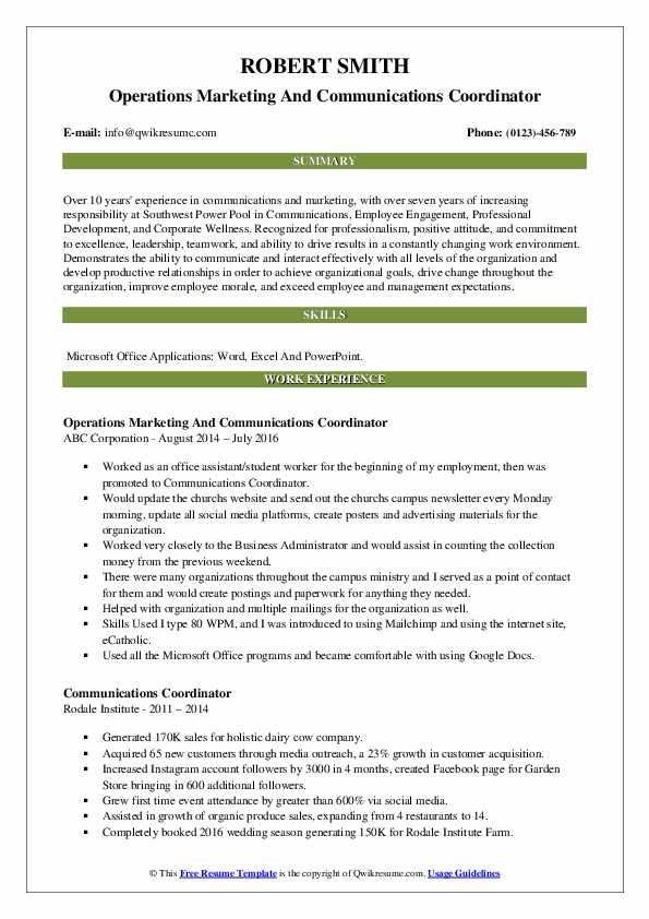 Operations Marketing And Communications Coordinator Resume Template