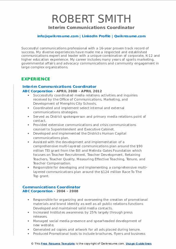 Interim Communications Coordinator Resume Template