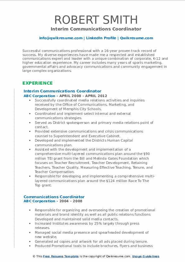 Interim Communications Coordinator Resume Model