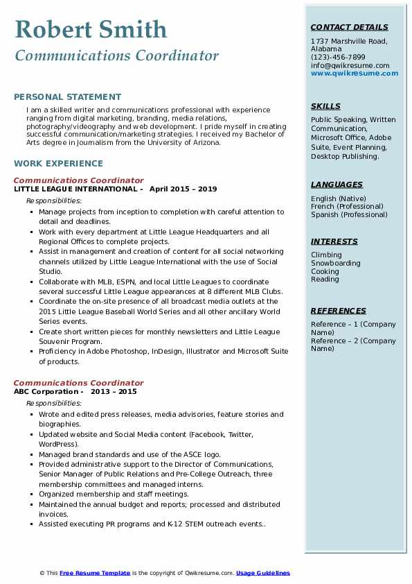 Communications Coordinator Resume example