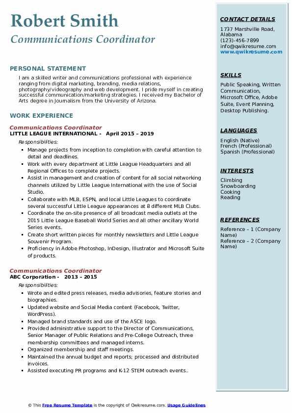 communications coordinator resume samples  qwikresume