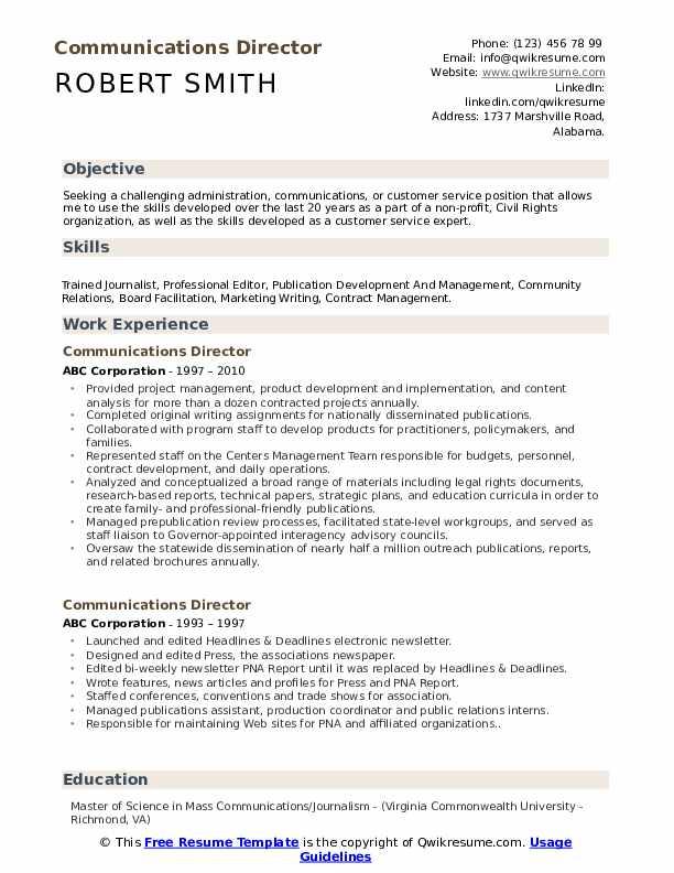 Communications Director Resume Model
