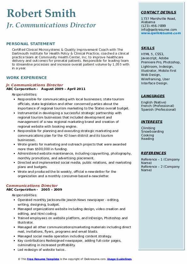 Jr. Communications Director Resume Sample
