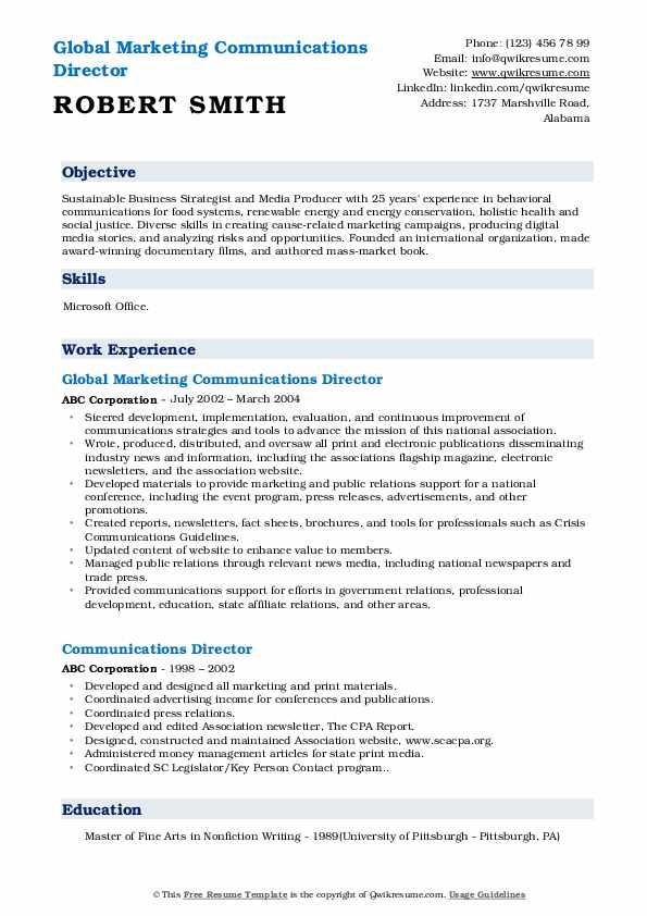 Global Marketing Communications Director Resume Example