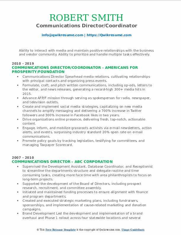 Communications Director/Coordinator Resume Format