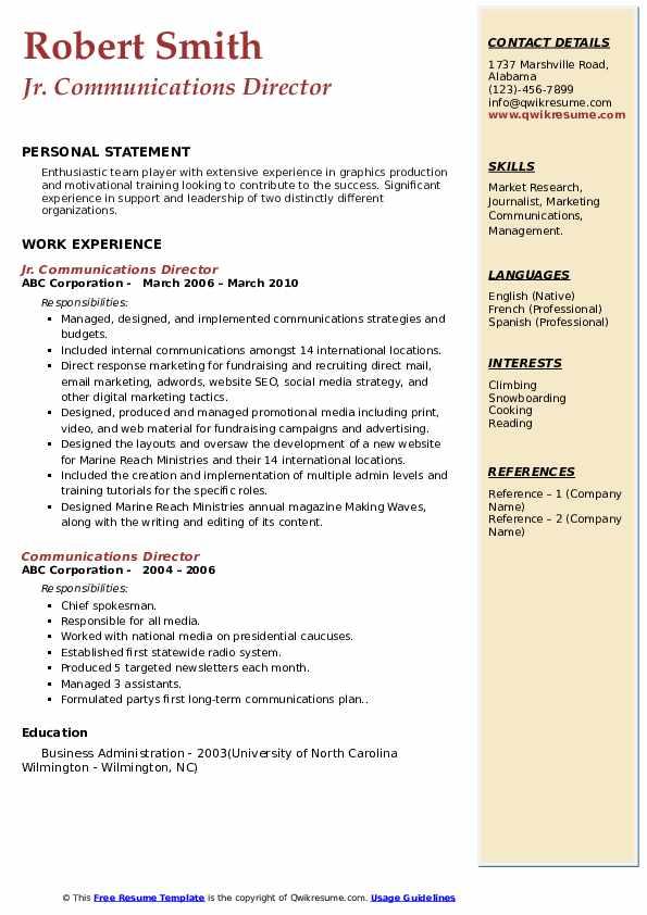 Jr. Communications Director Resume Format