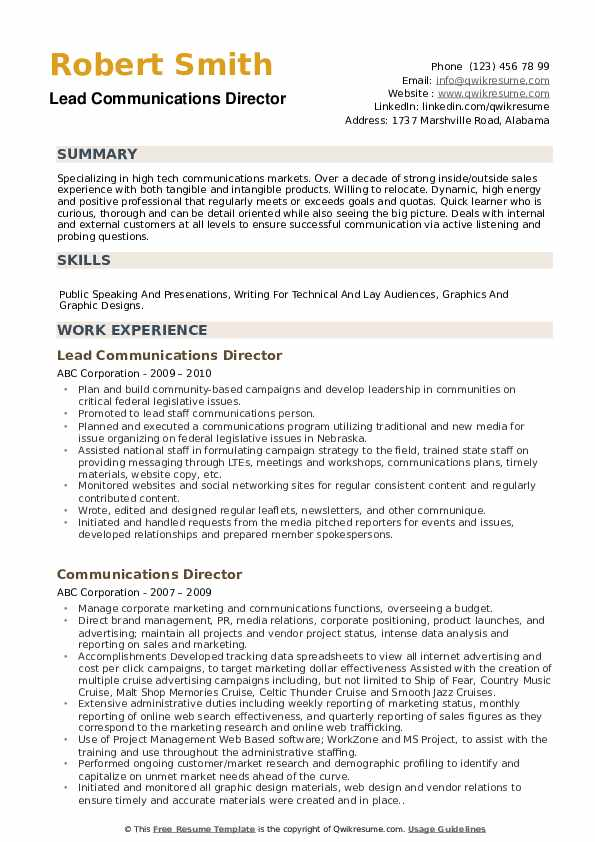 Lead Communications Director Resume Format