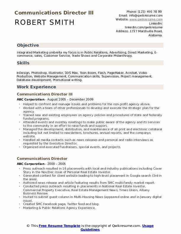 Communications Director III Resume Model