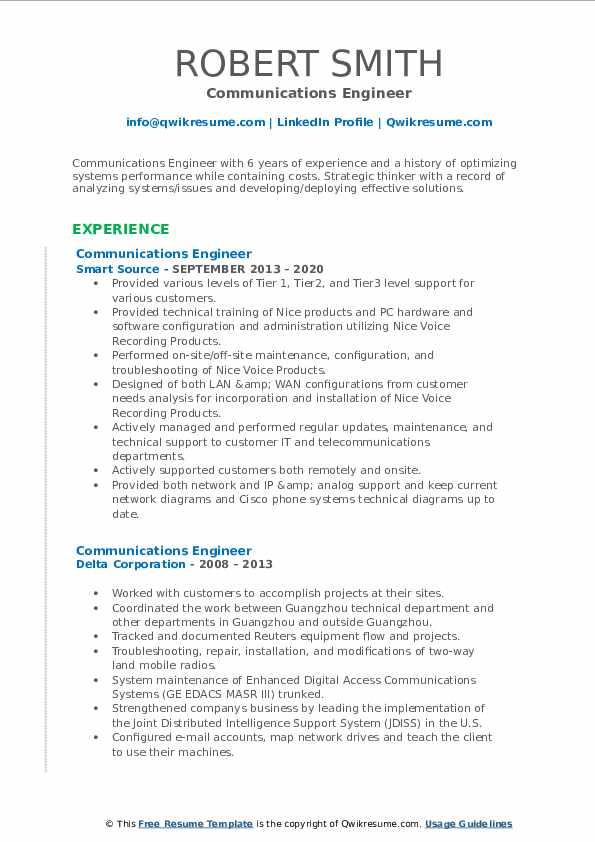 communications engineer resume samples  qwikresume