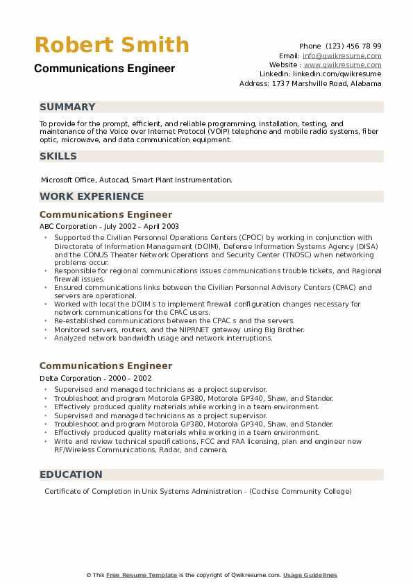 Communications Engineer Resume example