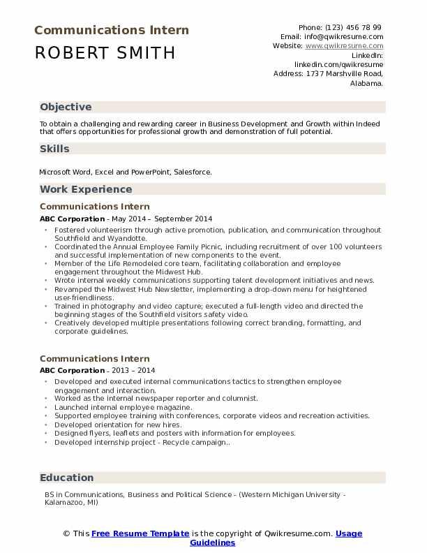 Communications Intern Resume Format