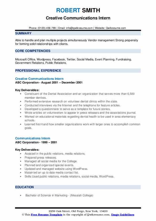 Creative Communications Intern Resume Sample