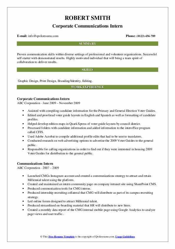 Corporate Communications Intern Resume Sample