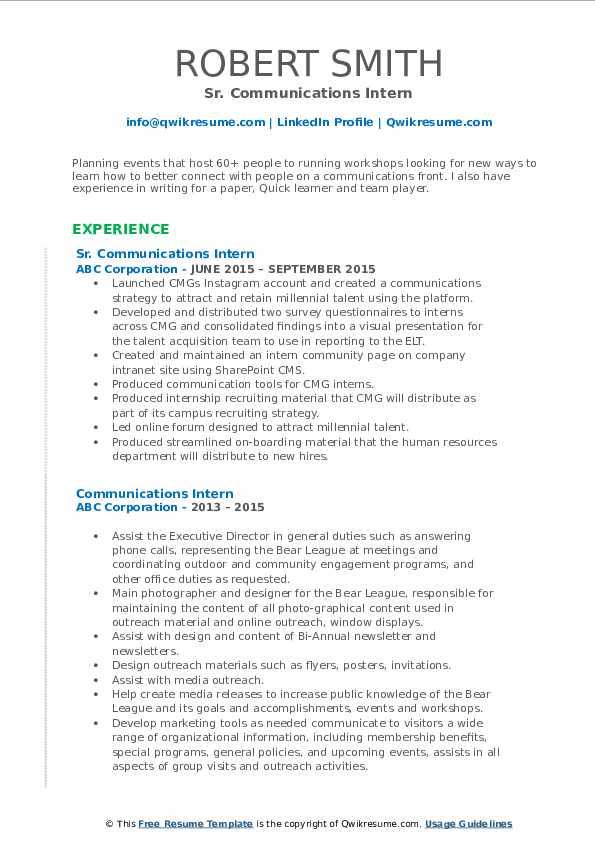 Sr. Communications Intern Resume Format