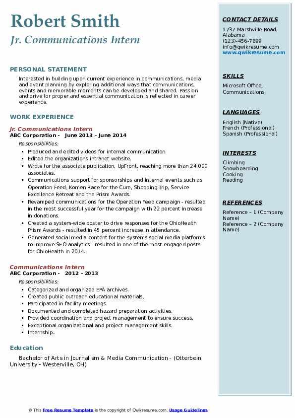 Jr. Communications Intern Resume Sample