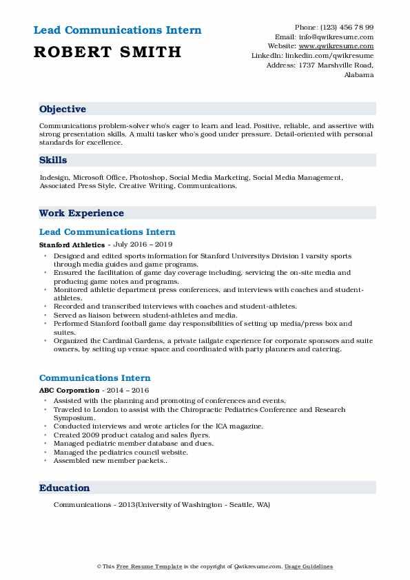 Lead Communications Intern Resume Sample
