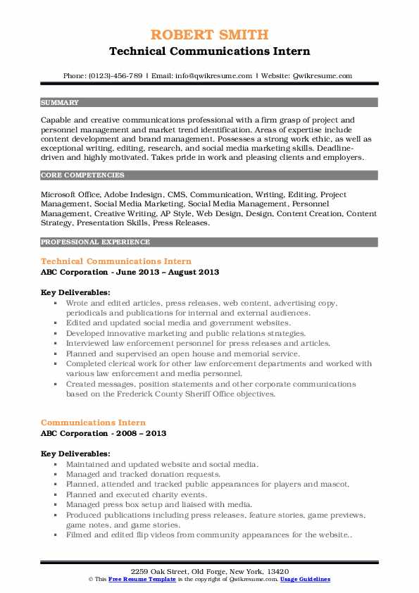 Technical Communications Intern Resume Example
