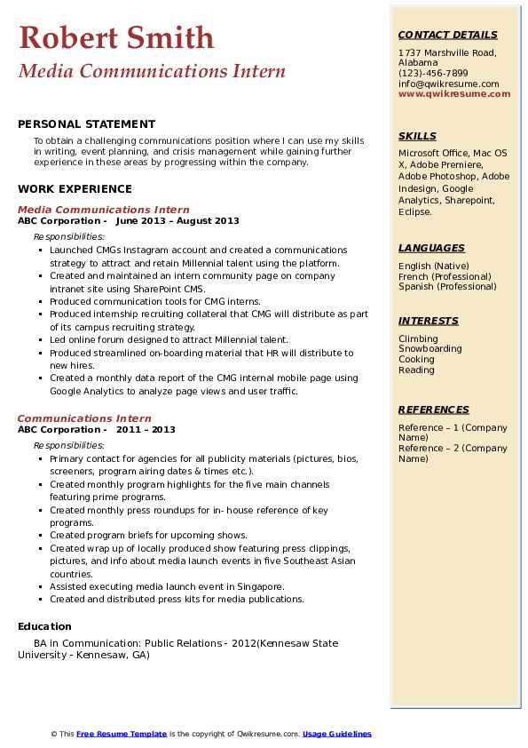 Media Communications Intern Resume Model