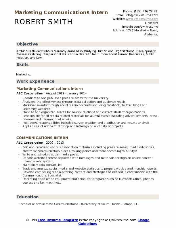 Marketing Communications Intern Resume Example