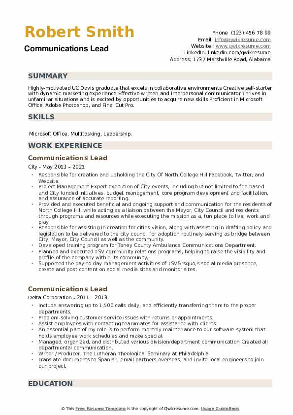 Communications Lead Resume example