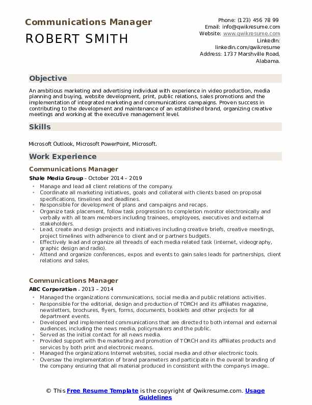 Communications Manager Resume Sample