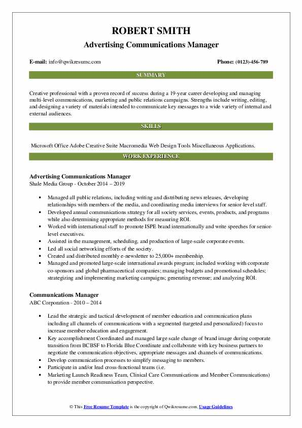 Advertising Communications Manager Resume Template