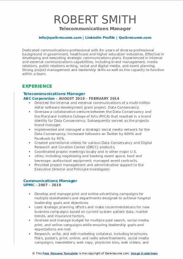 Telecommunications Manager Resume Template