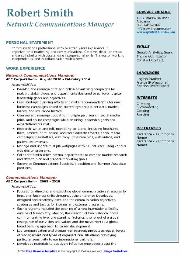 Network Communications Manager Resume Model