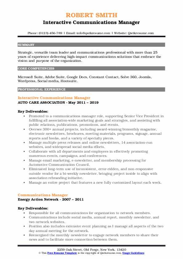 Interactive Communications Manager Resume Template
