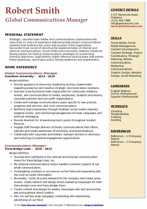Communications Manager Resume Samples Qwikresume