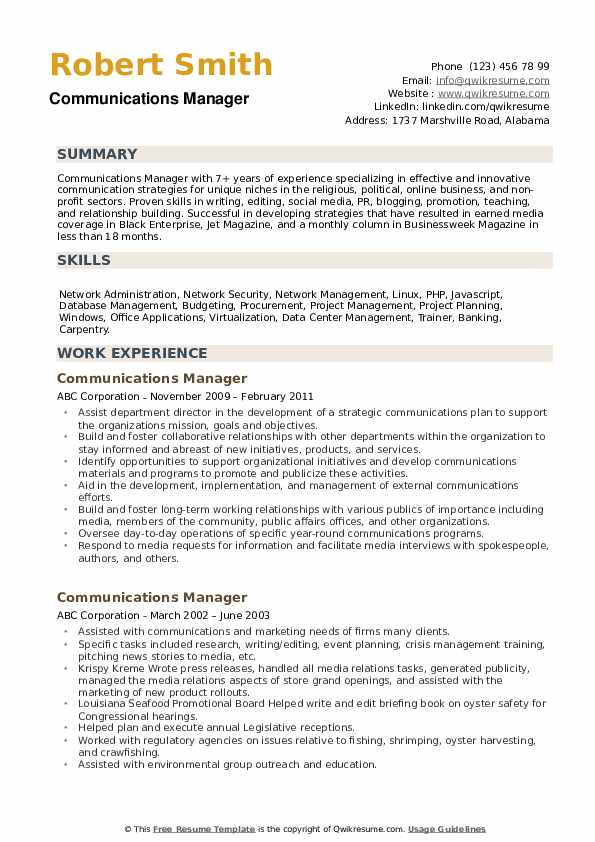 Communications Manager Resume Model