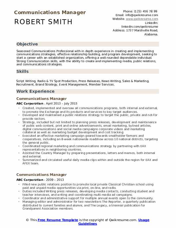 Communications Manager Resume Example