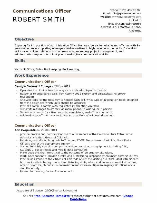 Communications Officer Resume Format