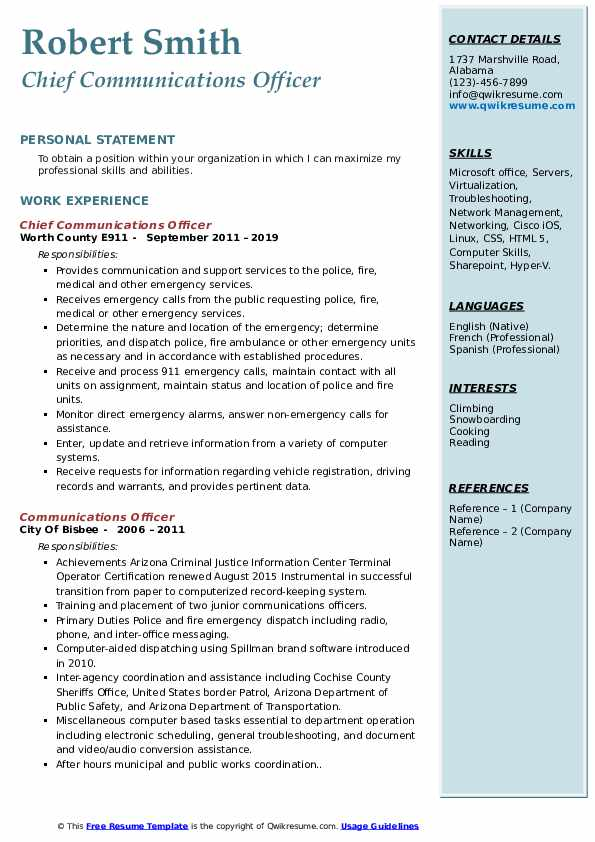 Communications Officer Resume Samples Qwikresume