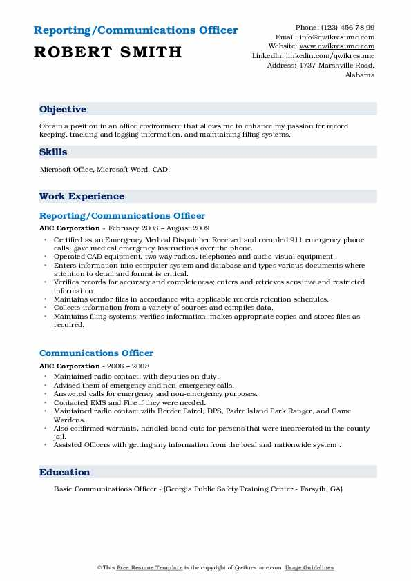 Reporting/Communications Officer Resume Example