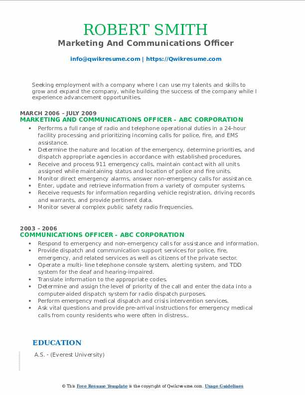 Marketing And Communications Officer Resume Example