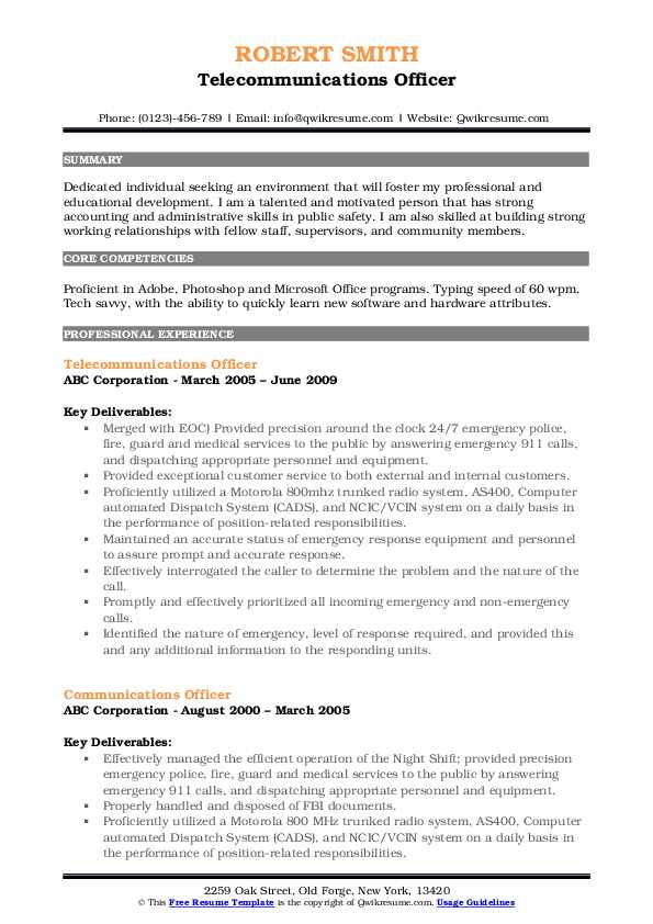 Telecommunications Officer Resume Model