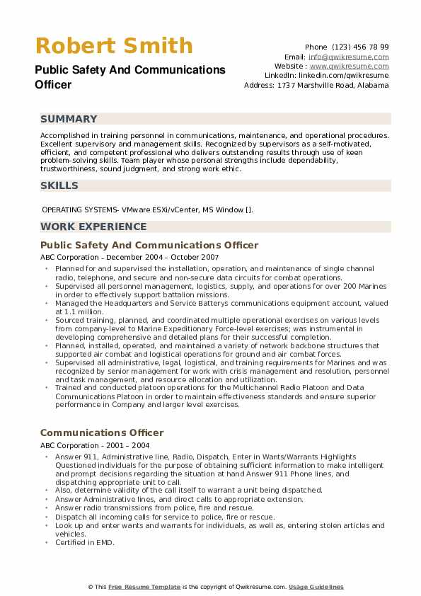 Public Safety And Communications Officer Resume Model