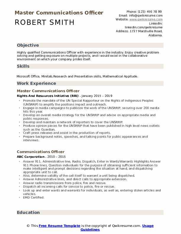 Master Communications Officer Resume Format