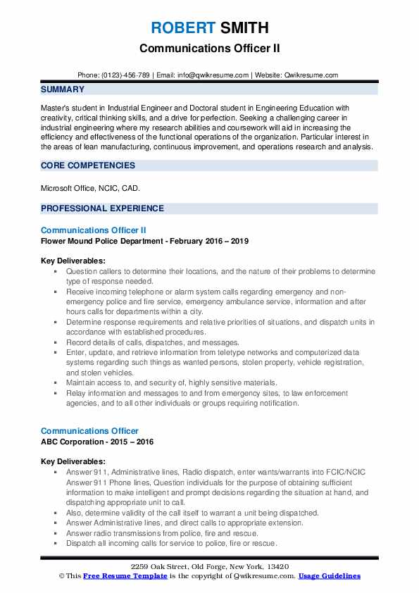 Communications Officer II Resume Template