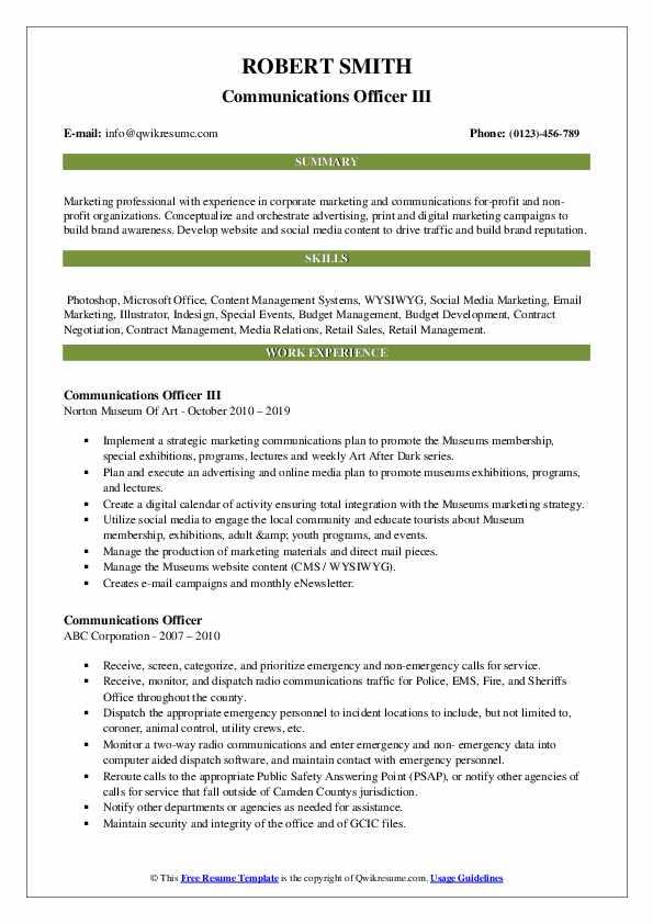Communications Officer III Resume Format