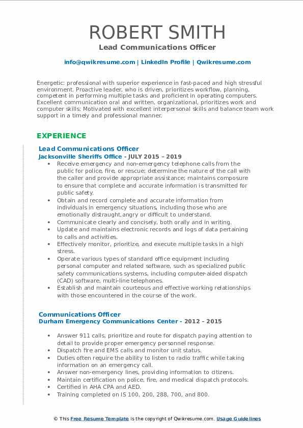 Lead Communications Officer Resume Model