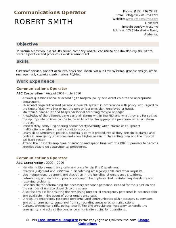 Communications Operator Resume Template