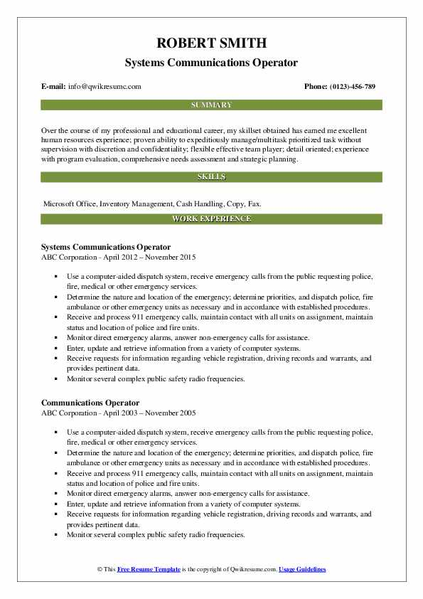 Systems Communications Operator Resume Example
