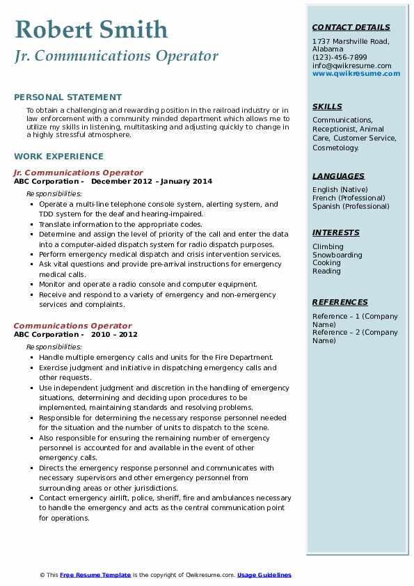 Jr. Communications Operator Resume Format