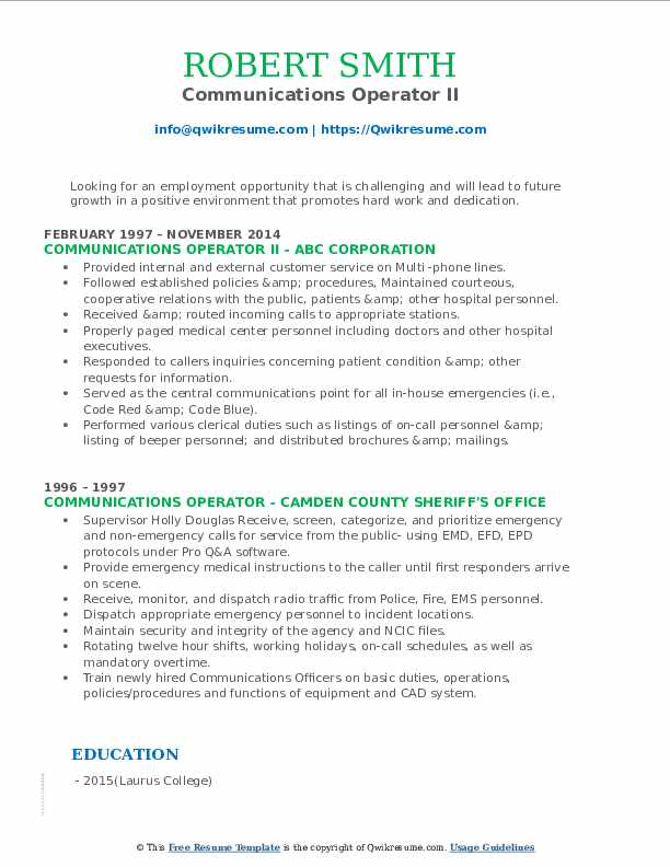 Communications Operator II Resume Template