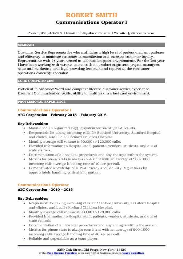 Communications Operator I Resume Sample
